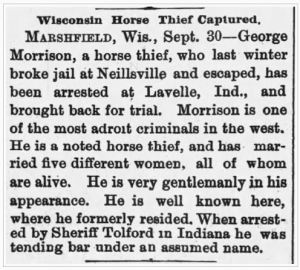 Wisconsin Horse Thief George Morrison